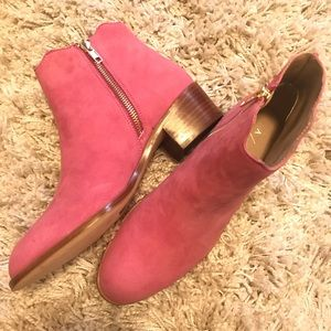 Anthropologie Pink Suede bootie